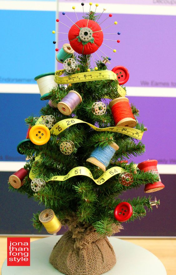 Unique Christmas Tree Made From Sewing Material  | Want ideas for unique Christmas trees for the 2020 holiday season? Find inspiration ideas for your Christmas tree decoration from creative and unique xmas trees. From white, upside down, best Christmas trees on wall, pink Christmas trees, and even Disney Christmas tree decorations. From big and small unique Christmas tree ideas. Perfect for kids and for the holidays. #uniquechristmastree #christmastreeideas #christmastreeideas #christmas