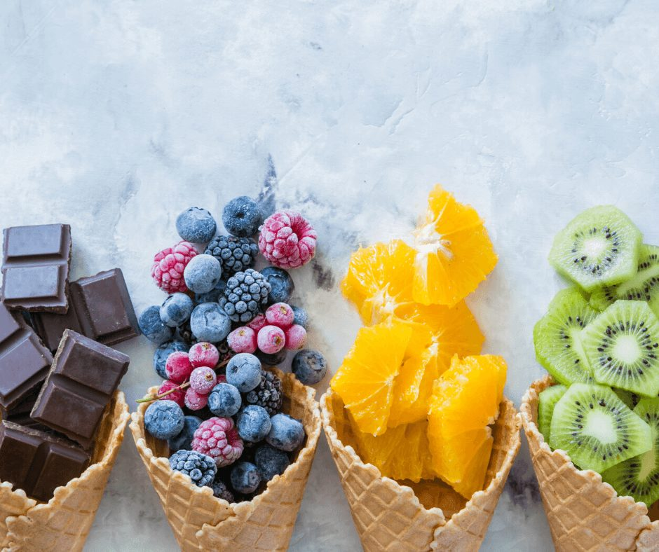 Frozen berries, frozen chocolate and frozen fruits in general are a great and healthy snacks for a movie night.