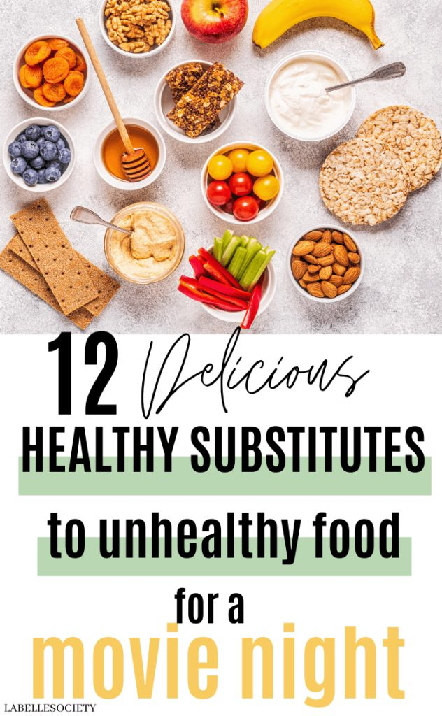 12 Brilliant Healthy Substitutes to Unhealthy Food for a Movie Night   Want to eat healthier food and delicious snacks for a movie night? There are various delicious, healthier food to substitute unhealthy junk food. You'll want to try all these healthy sweet and salty snack substitutes. These food yummies and easy healthy recipes are perfect for a night in with friends or family. #snacksubstitutes #healthyfoodsubstitutes #healthyfoodmovienight #healthyfoodsubstitutes