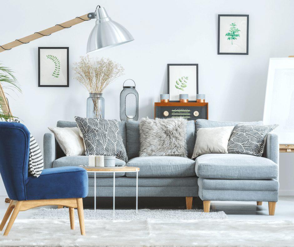 Minimalist living room in grey tones