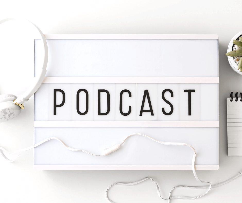 Podcast sign flatlay