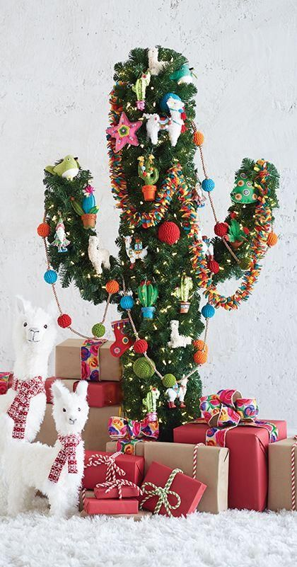 Cactus Christmas Tree | Want ideas for unique Christmas trees for the 2020 holiday season? Find inspiration ideas for your Christmas tree decoration from creative and unique xmas trees. From white, upside down, best Christmas trees on wall, pink Christmas trees, and even Disney Christmas tree decorations. From big and small unique Christmas tree ideas. Perfect for kids and for the holidays. #uniquechristmastree #christmastreeideas #christmastreeideas #christmas