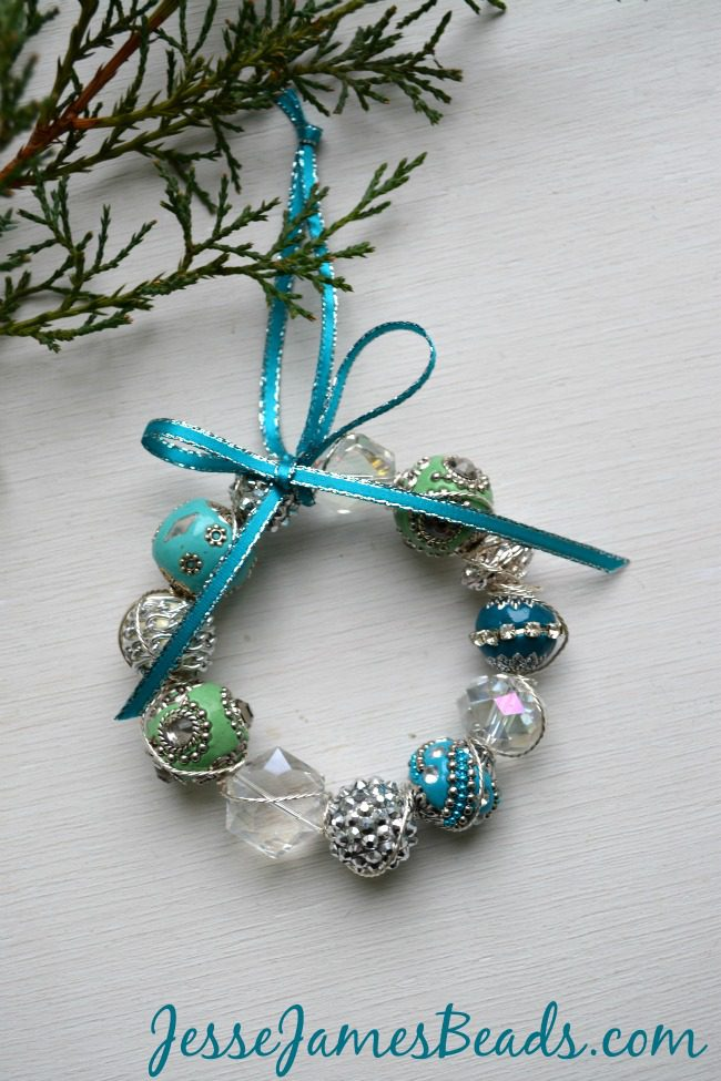 Beaded blue and green Wreath Ornaments