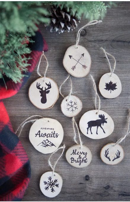 Faux Wood Burned Christmas Tree Ornaments