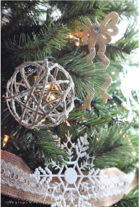 Farmhouse Christmas Tree Ornaments DIY  hanging from a xmas tree