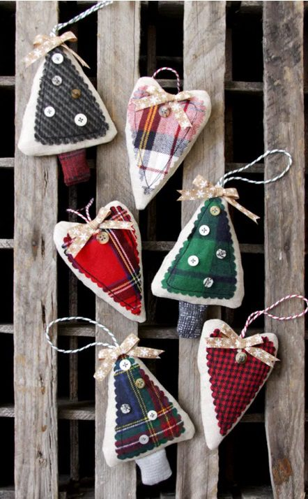 Simple Flannel Christmas Tree Ornaments