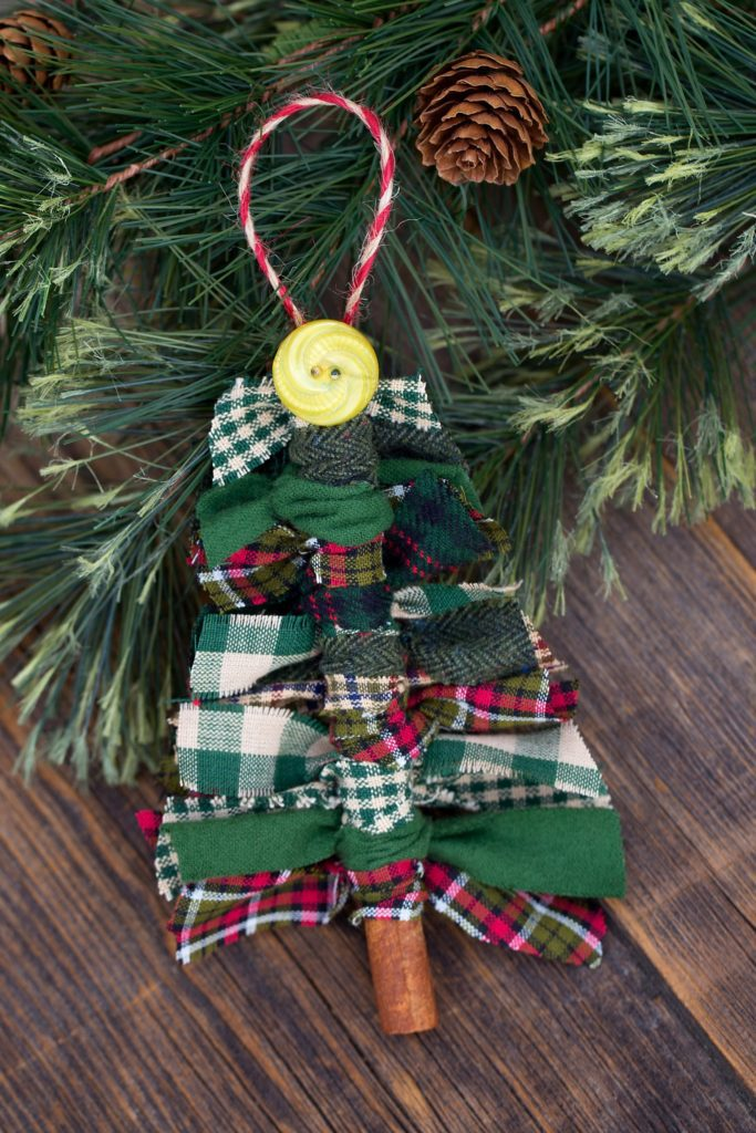 Primitive Scrap Fabric Tree Ornaments on a wooden table