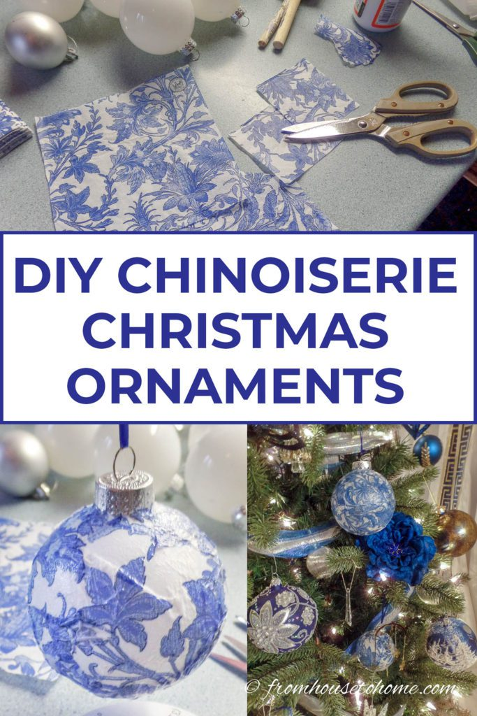 DIY Chinoiserie Christmas Ornaments before and after image
