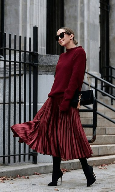 Elegant fall outfits: woman wearing a Maroon Monochrome Outfit for Fall