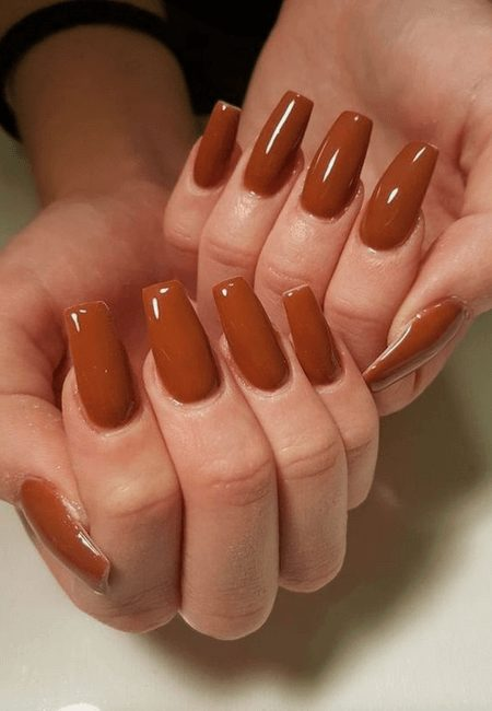 Want the best fall nail color ideas for autumn nails, such as this Chocolate Nail Color, Perfect for Autumn? Find cute and elegant acrylic and gel polish nail polish ideas for 2020, from light, neutral, orange and matte fall nail color ideas, perfect for both light and dark skins #fallnailcolor #fallnailideas #autumnnailcolors #autumn #fallcolors