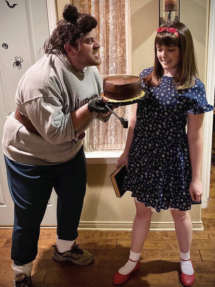 Matilda and Mrs Trunchbull Costume | Looking for iconic couples costume Halloween ideas for 2020? Find the best couples Halloween costume ideas, perfect for matching with your boyfriend. Find hot couples costume ideas, cool Disney characters costumes and the best DIY, funny, and scary couples Halloween costume inspiration.  #CouplesCostumeHalloween #couplescostume #halloweencouples #halloween