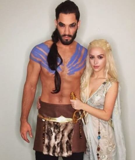 Deanerys Targeryan and Khal Drogo costume for couples | Looking for iconic couples costume Halloween ideas for 2020? Find the best couples Halloween costume ideas, perfect for matching with your boyfriend. Find hot couples costume ideas, cool Disney characters costumes and the best DIY, funny, and scary couples Halloween costume inspiration.  #CouplesCostumeHalloween #couplescostume #halloweencouples #halloween