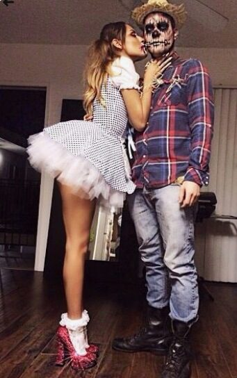 Scarecrow and Cute Dorothy Costume | Looking for iconic couples costume Halloween ideas for 2020? Find the best couples Halloween costume ideas, perfect for matching with your boyfriend. Find hot couples costume ideas, cool Disney characters costumes and the best DIY, funny, and scary couples Halloween costume inspiration.  #CouplesCostumeHalloween #couplescostume #halloweencouples #halloween