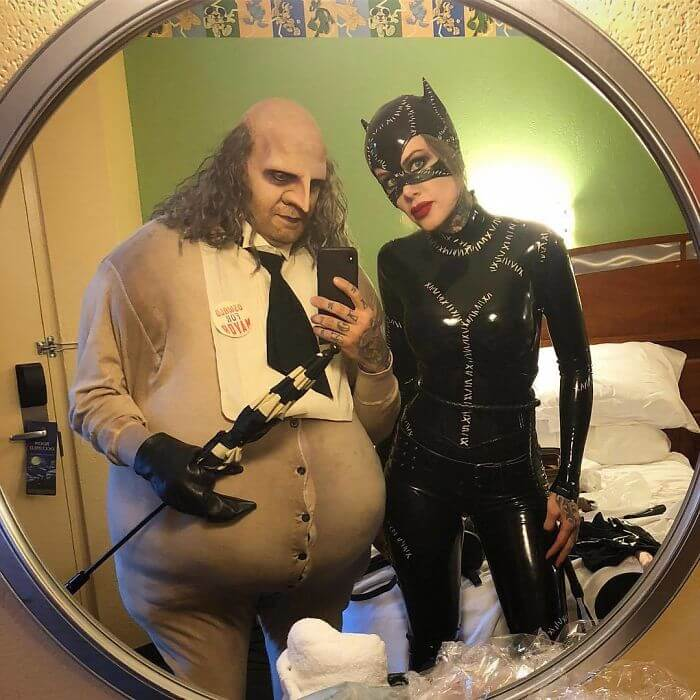 Creative The Penguin and Catwoman Costumes   Looking for iconic couples costume Halloween ideas for 2020? Find the best couples Halloween costume ideas, perfect for matching with your boyfriend. Find hot couples costume ideas, cool Disney characters costumes and the best DIY, funny, and scary couples Halloween costume inspiration.  #CouplesCostumeHalloween #couplescostume #halloweencouples #halloween