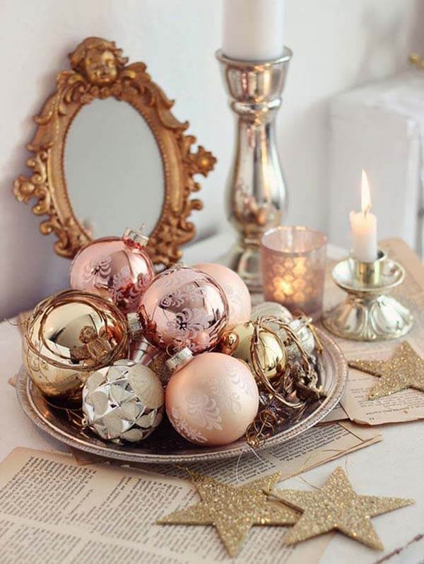 Mix of Rose Gold Balls | Want ideas for a themed Christmas decor this year? There is nothing more elegant and feminine that pink gold decor and the sky is the limit when looking for pink gold Christmas decoration. From pink Christmas tree, elegant gold pink Christmas decoration and ornaments, gold pink xmas wreaths, gold pink ideas DIY and the cutest gold pink Christmas decor from the dollar store. #pinkchristmas #pinkgoldchristmas #pinkchristmasdecor #pinkchristmasaesthetic #themedchirstmas
