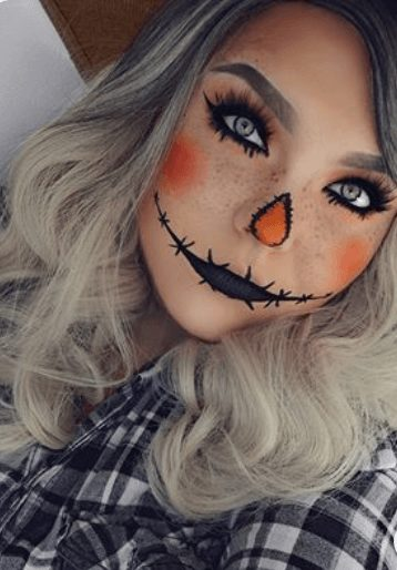 Cute Scarecrow Halloween Makeup