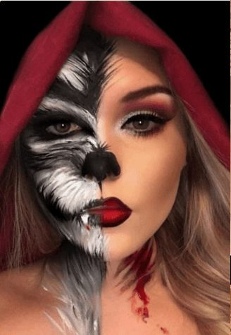 Creative Little Red Riding Hood + Big Bad Wolf Makeup for Girls