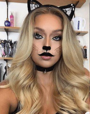 Easy Black Cat Halloween Makeup for Girls