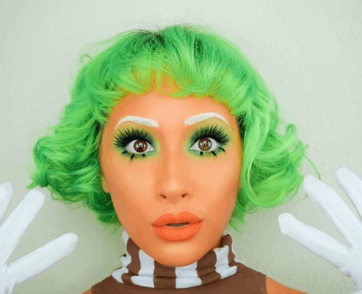 Cute Oompa Loompa Girl Makeup Perfect for Halloween