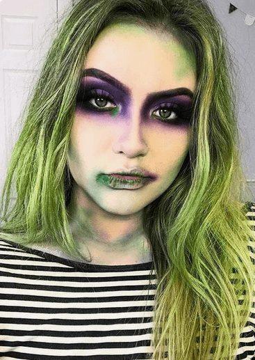 Sexy Beetlejuice Makeup for Girls' Halloween Costume