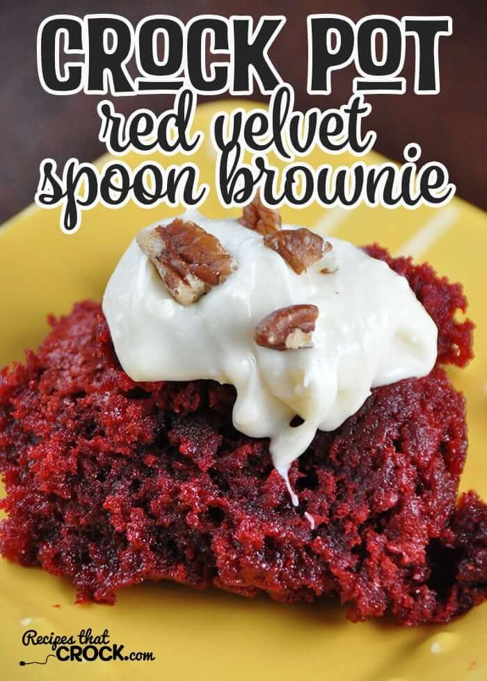 Slow Cooker Red Velvet Spoon Brownies | Want easy and cute Christmas candy ideas to make for the holiday season? Find the 25+ best Christmas candy recipes for easy crockpot treats that are perfect to make for a crowd, for coworkers and for kids. You'll go crazy with these super easy crockpot xmas treats for your end of year party. #crockpotchristmascandy #christmasdessertrecipe #christmascandy #crockpotcandy #christmasideas