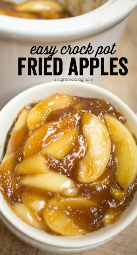 Easy Crock Pot Fried Apples | Want easy and cute Christmas candy ideas to make for the holiday season? Find the 25+ best Christmas candy recipes for easy crockpot treats that are perfect to make for a crowd, for coworkers and for kids. You'll go crazy with these super easy crockpot xmas treats for your end of year party. #crockpotchristmascandy #christmasdessertrecipe #christmascandy #crockpotcandy #christmasideas