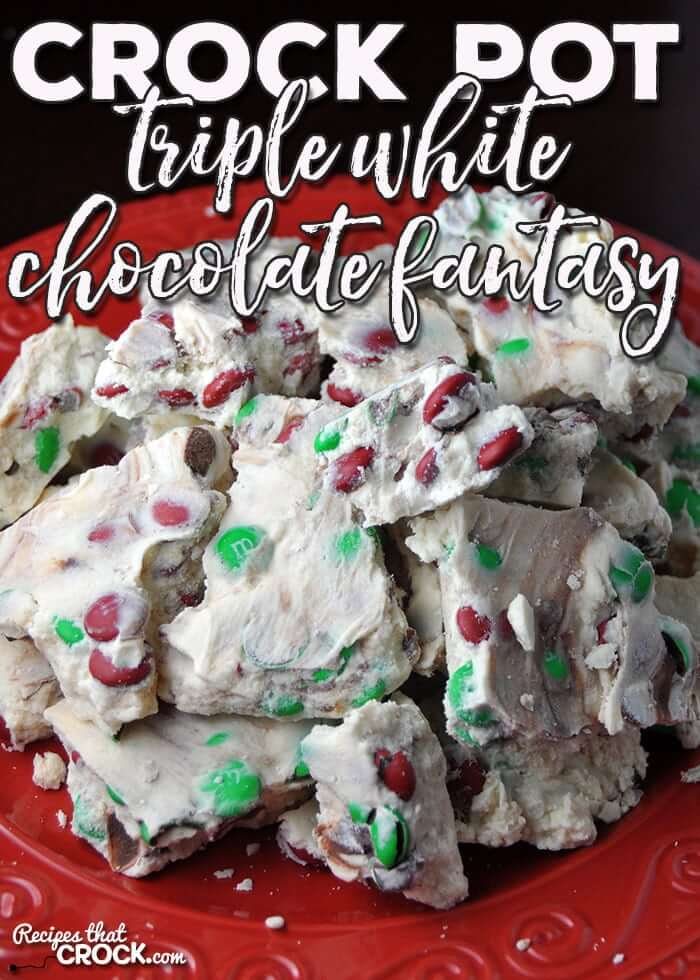 25+ Super Easy Crockpot Christmas Candy Recipes | Crock Pot Triple White Chocolate Fantasy | Want easy and cute Christmas candy ideas to make for the holiday season? Find the 25+ best Christmas candy recipes for easy crockpot treats that are perfect to make for a crowd, for coworkers and for kids. You'll go crazy with these super easy crockpot xmas treats for your end of year party. #crockpotchristmascandy #christmasdessertrecipe #christmascandy #crockpotcandy #christmasideas