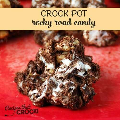 Crock Pot Rocky Road Candy | Want easy and cute Christmas candy ideas to make for the holiday season? Find the 25+ best Christmas candy recipes for easy crockpot treats that are perfect to make for a crowd, for coworkers and for kids. You'll go crazy with these super easy crockpot xmas treats for your end of year party. #crockpotchristmascandy #christmasdessertrecipe #christmascandy #crockpotcandy #christmasideas