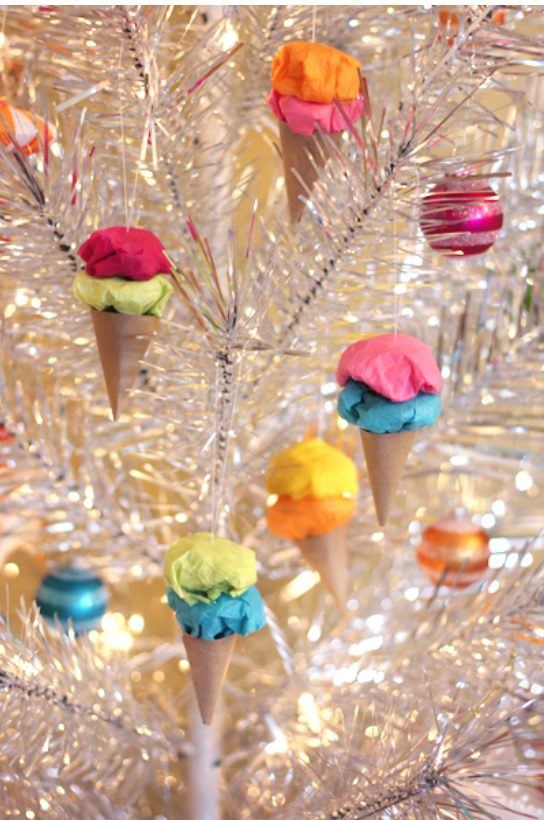 Easy Paper Ice Cream Ornaments hanging from a white Christmas tree