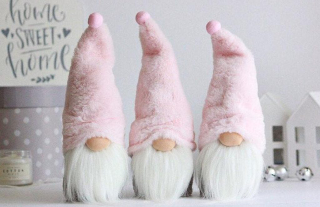 Gnome Christmas pink gnome plush | Want ideas for a themed Christmas decor this year? There is nothing more elegant and feminine that pink gold decor and the sky is the limit when looking for pink gold Christmas decoration. From pink Christmas tree, elegant gold pink Christmas decoration and ornaments, gold pink xmas wreaths, gold pink ideas DIY and the cutest gold pink Christmas decor from the dollar store. #pinkchristmas #pinkgoldchristmas #pinkchristmasdecor #pinkchristmasaesthetic #themedchirstmas