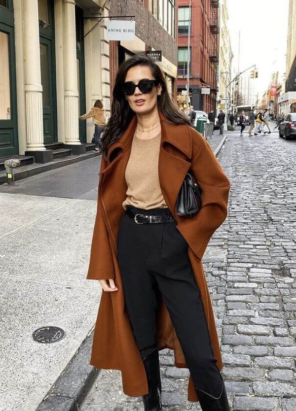 How to Dress Like a Parisian Woman in Autumn and Winter: girl wearing long camel coat, black pants and yellow shirt