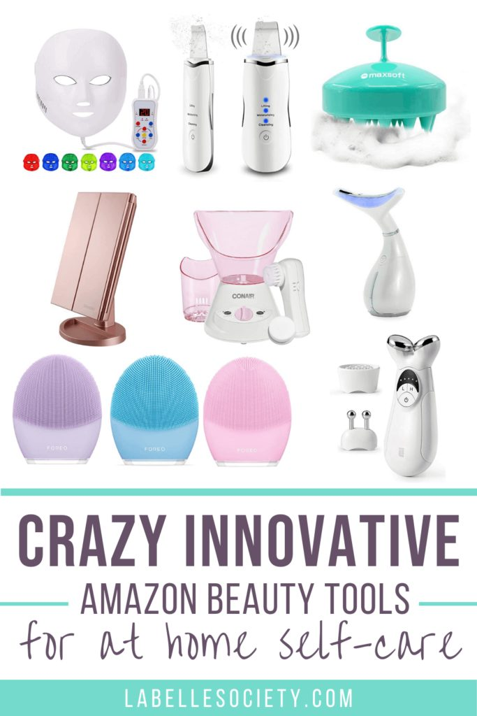 Pinterest pin with the best beauty tools on Amazon. All the must have professional skincare products for at home self-care from the best-selling beauty products on Amazon. A current list of essential skin care tools, perfect for gift ideas for her #skincaretools #selfcaregiftideas #amazonfinds #beautygiftideas