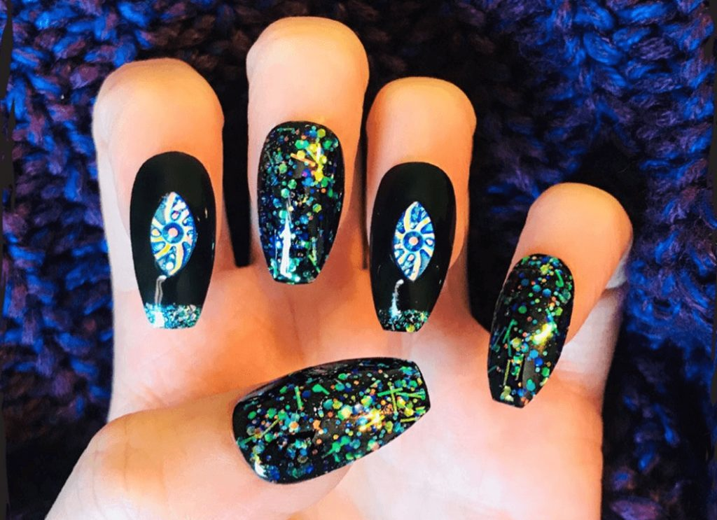 Blue and Black Sparkly Glitter Space Water Gem Fake Nails