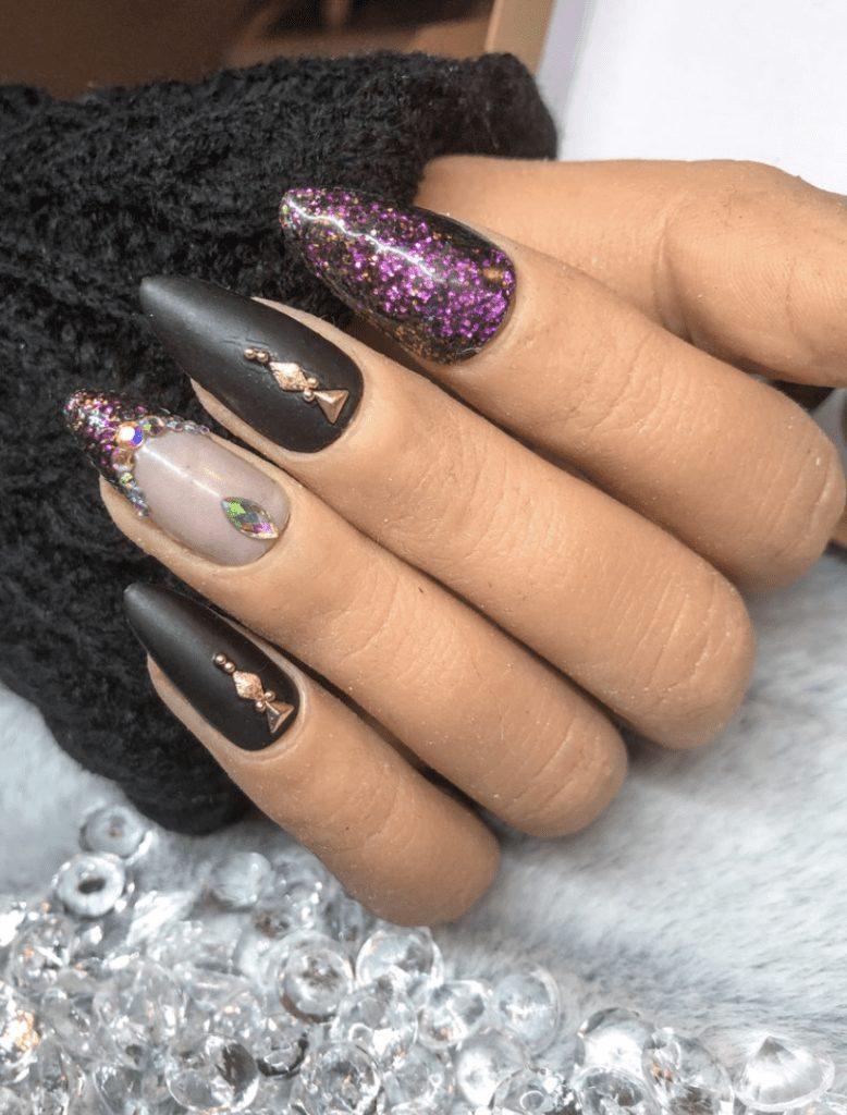 Dark Aesthetic Witchy Purple Glitter Gem Crystal Press On / Glue On / Stick On Nail Set
