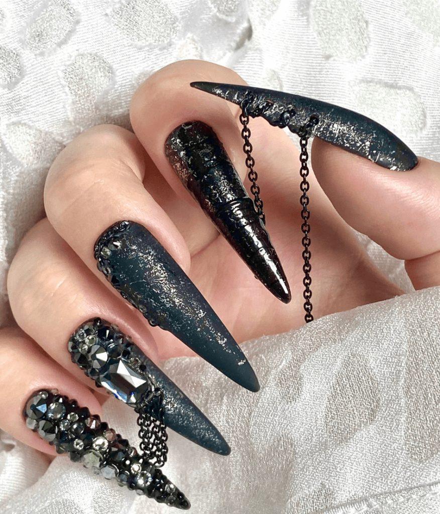 CERBERUS Black Silver Matte & Glossy Studded Chain Nails w/ Gel Polish + Genuine Swarovski