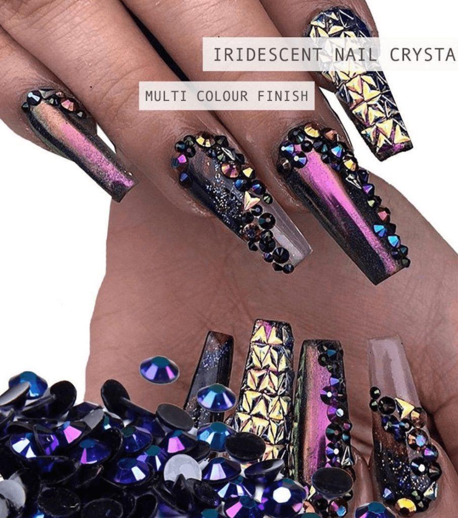 Crystal Flat Back Iridescent Nail Art Festival Face Gems Rhinestones Black AB