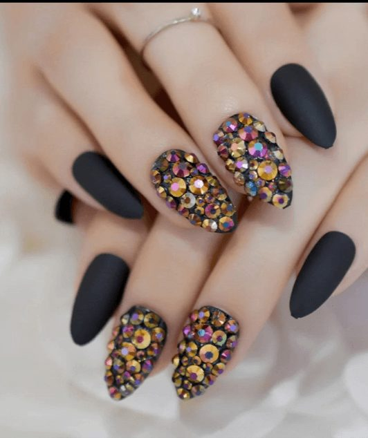 3D Rhinestones Gem Black matte stiletto short Almond pointed oval Finger nails 24 pieces free adhesive tapes