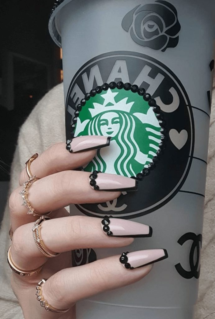 Nude and Black press on nails