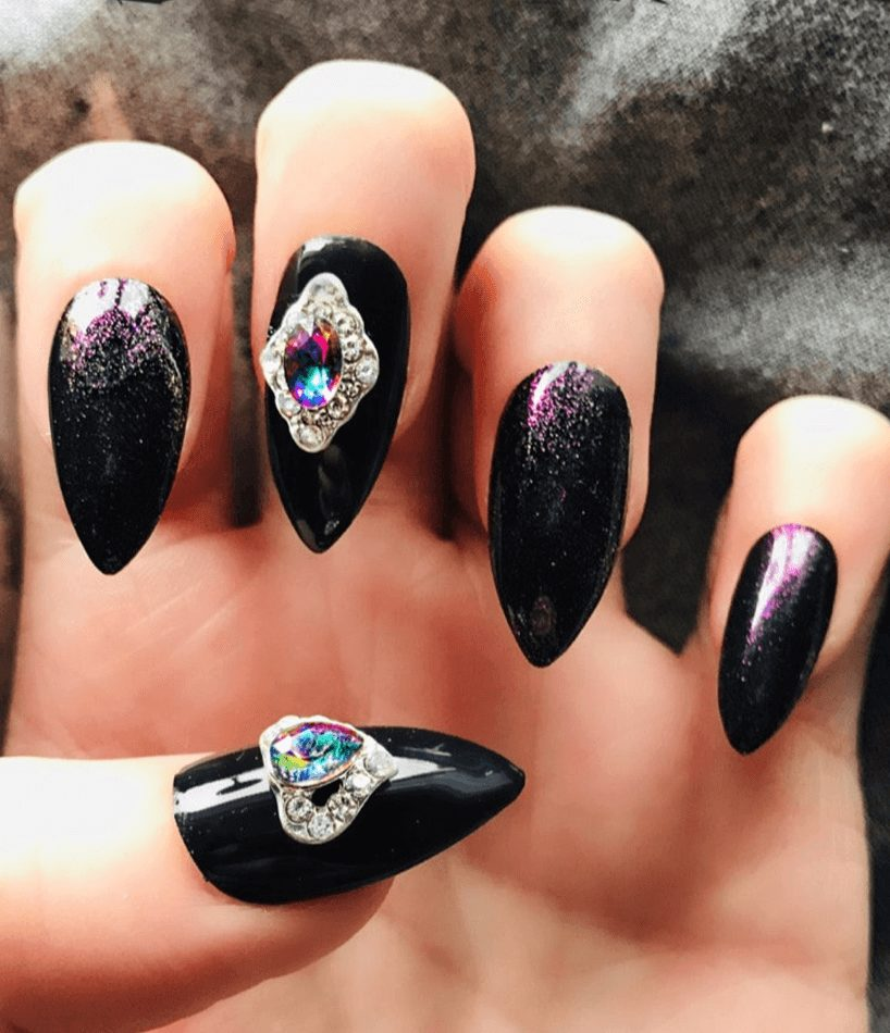 Black and Purple Shiny Gem Jewel Fake Nails