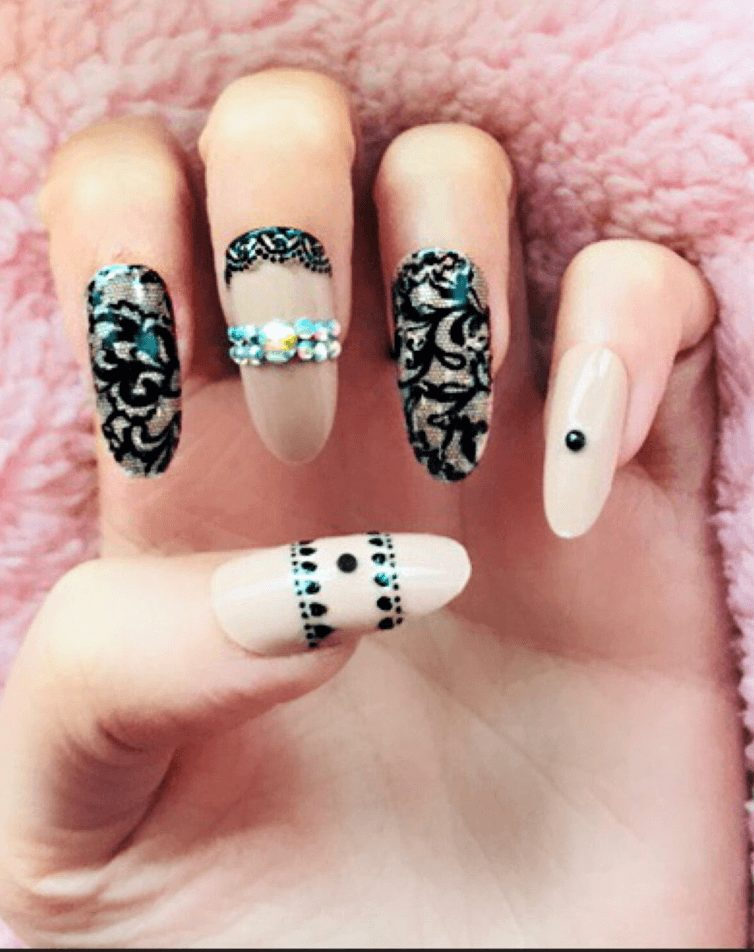 Nude and Black Lace Gem Fake Nails