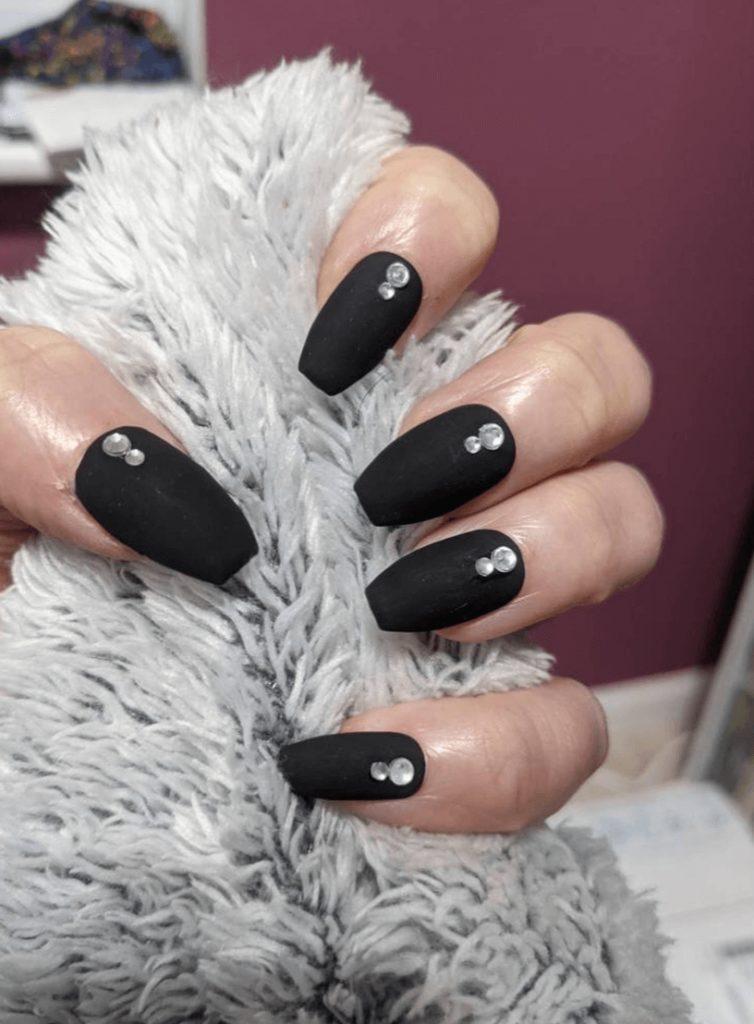 Matte Black and Gems On False Nails