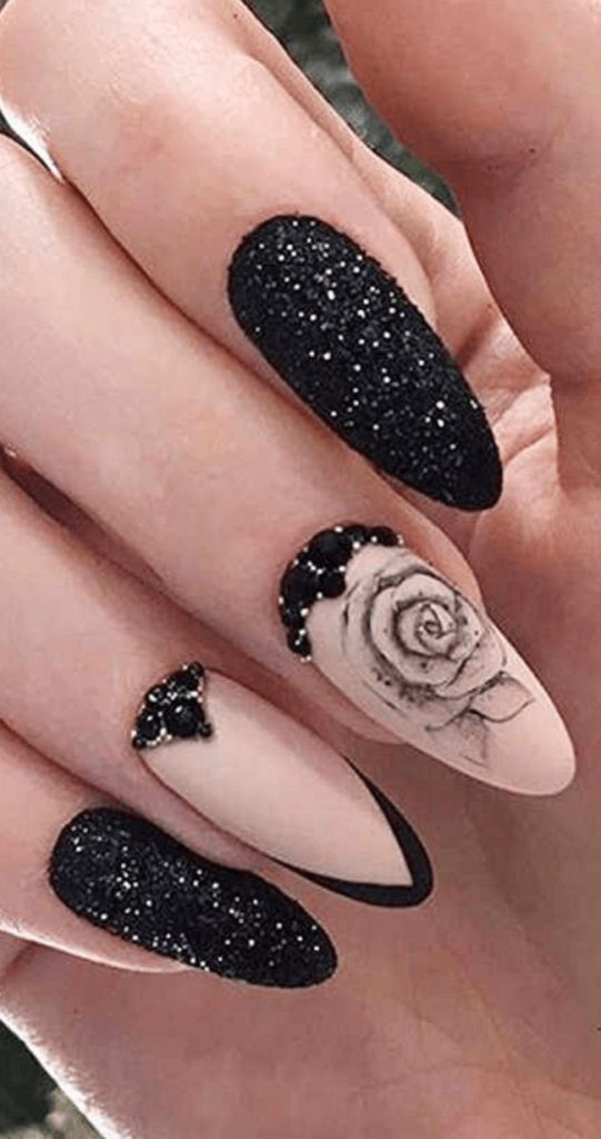 Nail Art Stickers Decals Transfers Black Flowers Floral Rose Roses Gothic Goth Valentines Day Butterflies Butterfly