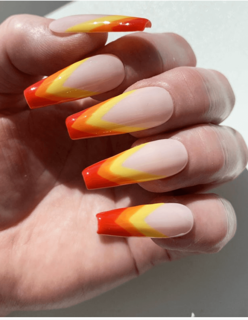 V French Tip Press On Nails / Colorful Summer Nails / Red and Yellow False Nails