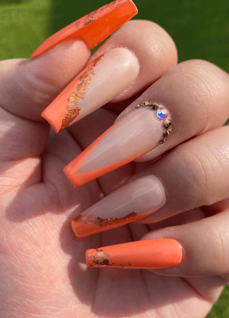 Zesty orange summer nail design- rose gold foil nail art-styled in long ballerina