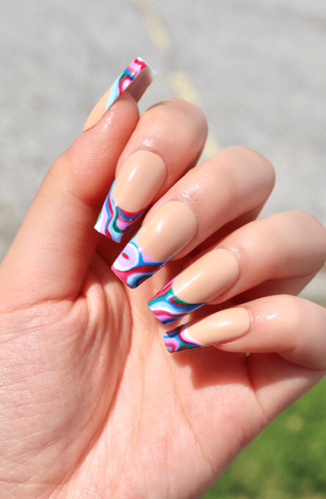 GROOVY - Rainbow Retro French Tip Press On Nails
