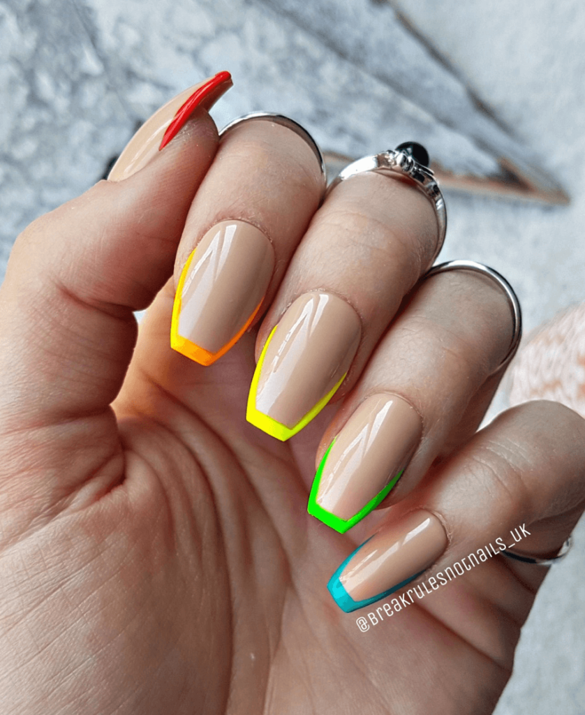 RAINBOW TIPS - French Tip Press On Nails - French Manicure Press Ons - Pride Nails - Rainbow Nails - Spring Nails - Summer Nails 2021