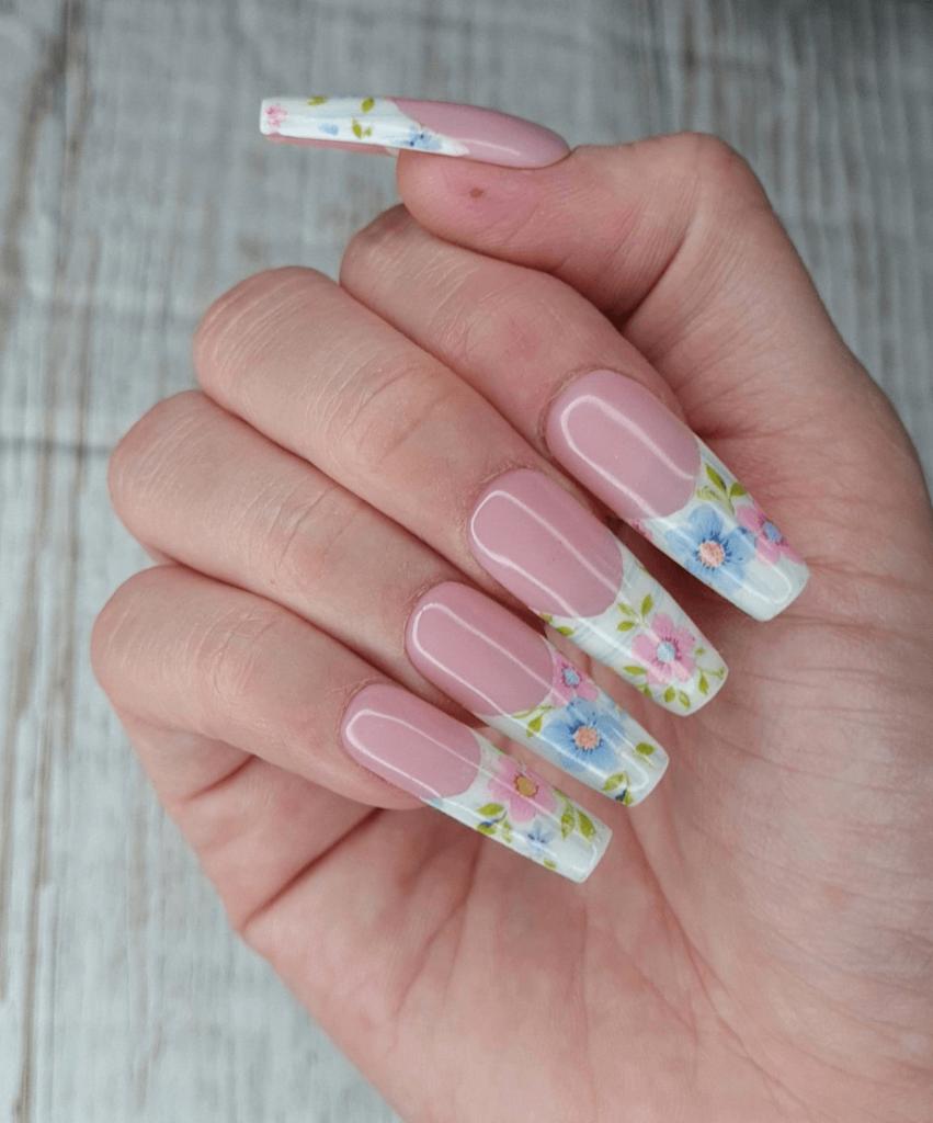 Vintage Floral French Manicure