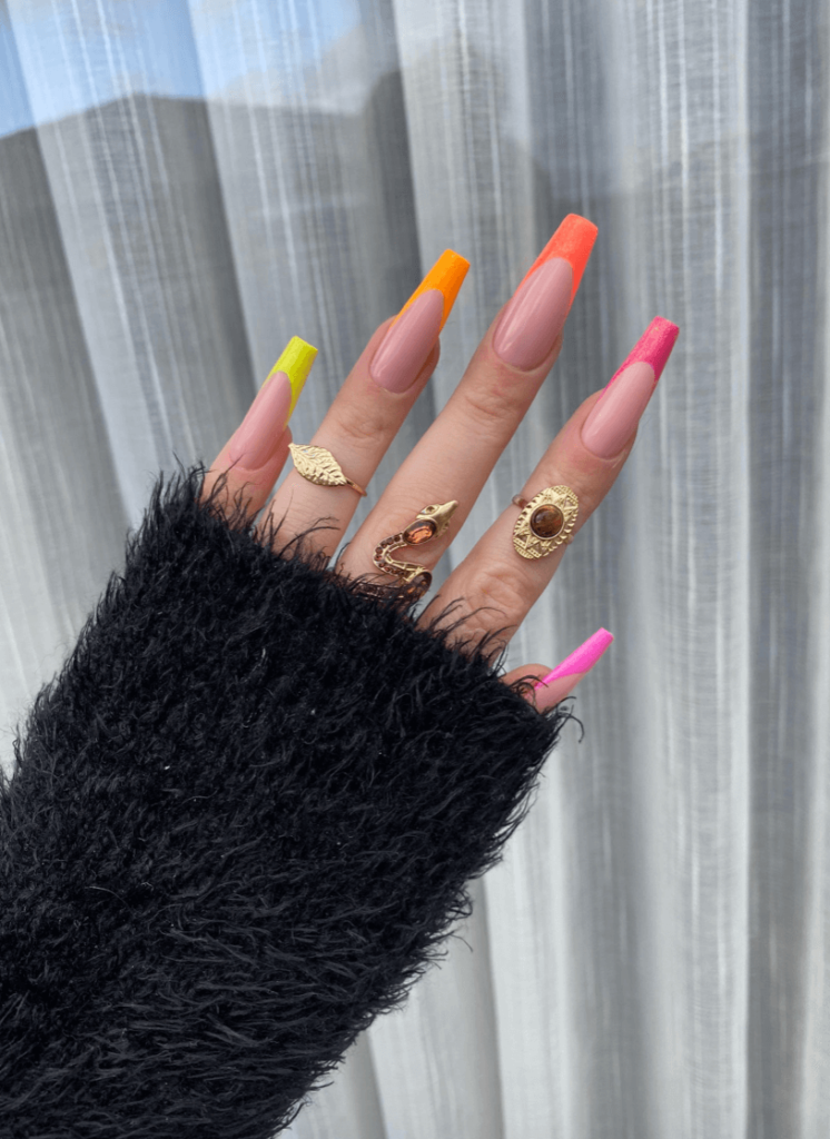 SPARKLE ME NEON Press on nails   French tip   coloured bright   summer nails   iridescent nails