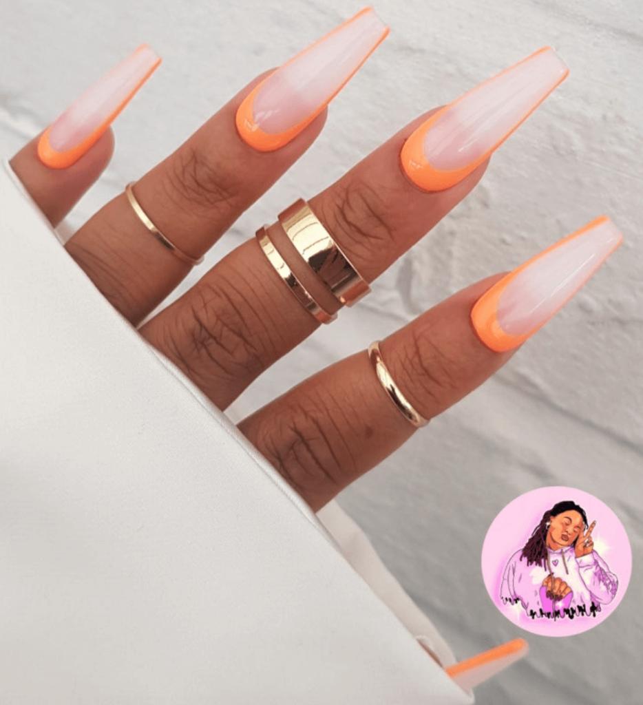 Long Bright Orange Reverse French Press On Nails