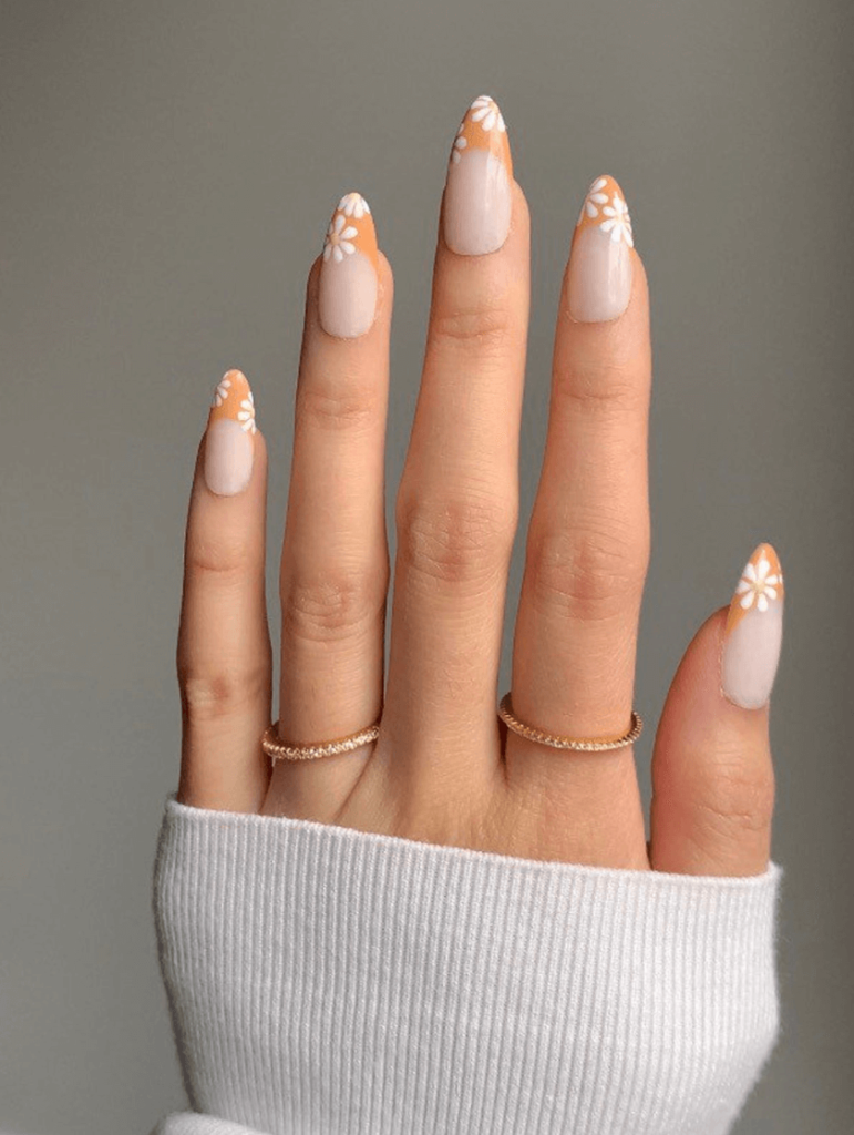 Spring Muted Orange French Tip Press On Nails with White Daisy Nail Art Details